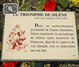 Information Plaque For Triomphe De Silene Statue