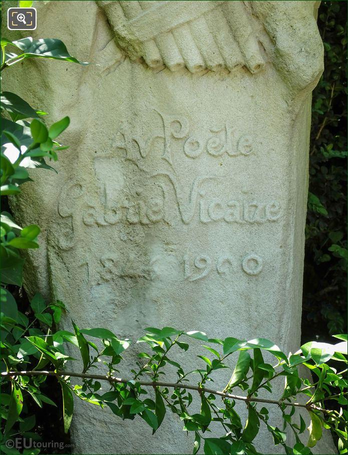 Inscription On Gabriel Vicaire Statue
