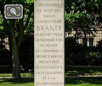 Pedestal Inscription On Edouard Branly Monument