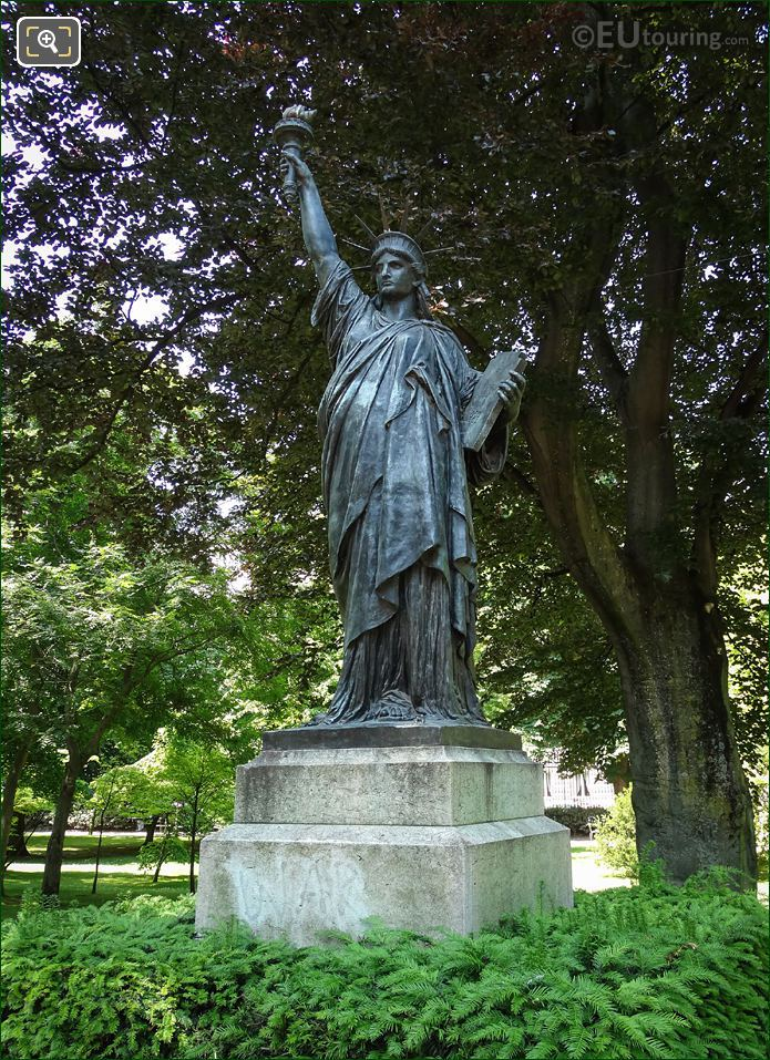 Bronze Statue Of Liberty In Luxembourg Gardens