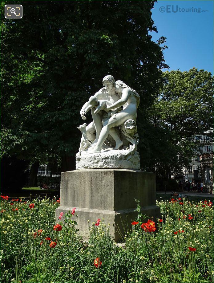Joies De La Famille Statue And Stone Pedestal
