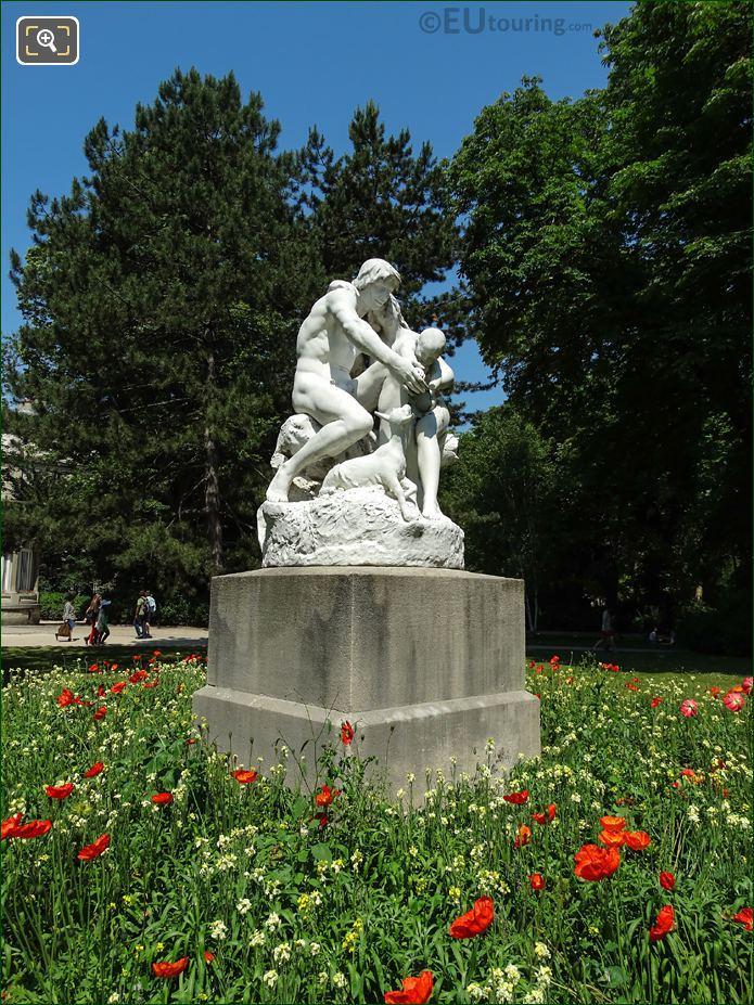 1889 Marble Statue Group Joies De La Famille