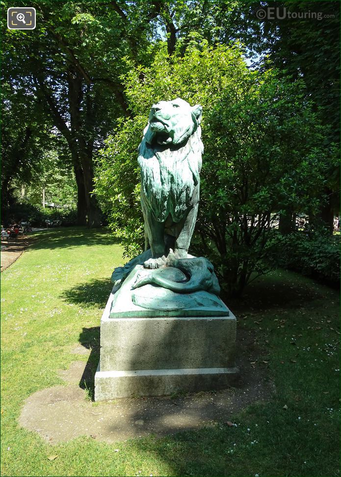 Front View Of Lion Statue In Luxembourg Gardens