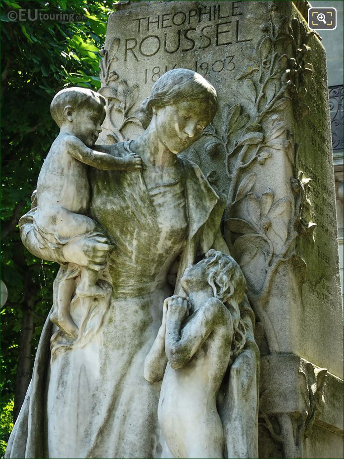 Woman With Children Statues On Theophile Roussel Monument
