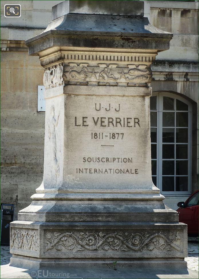 Inscription On Stone Base Of Le Verrier Statue