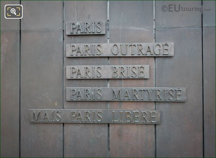 Charles De Gaulle Speech Inscription