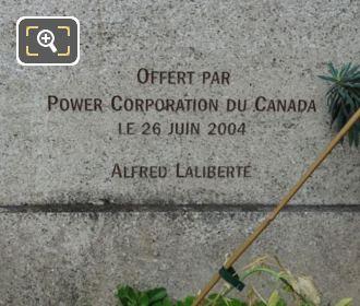 Power Corporation Canada Inscription On Samuel Champlain Monument