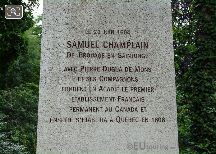 Inscription On Samuel Champlain Monument Paris