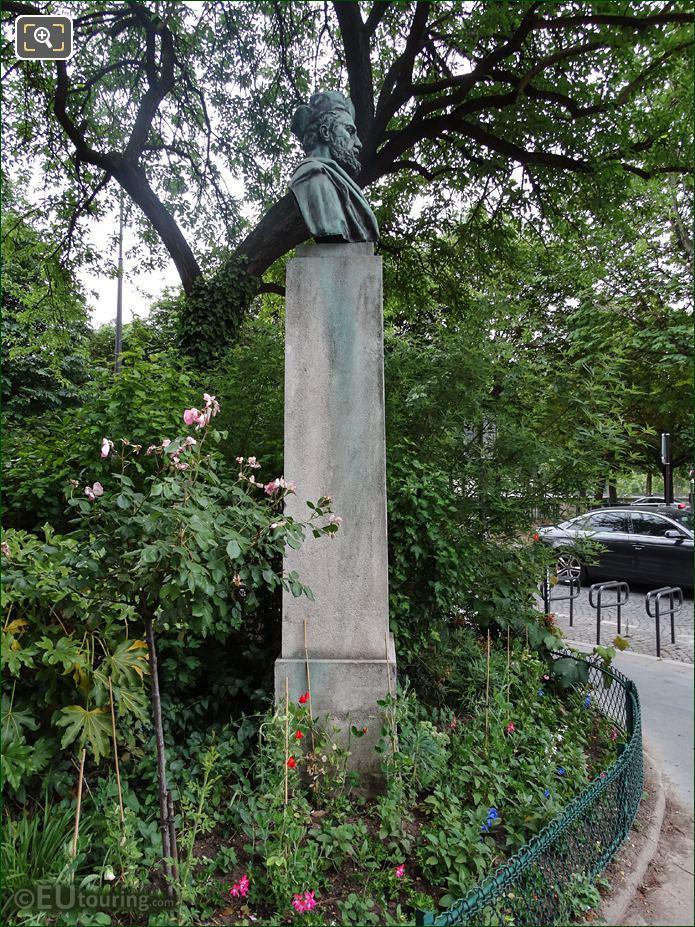 Side View Of Jacques Cartier Bust Monument Paris