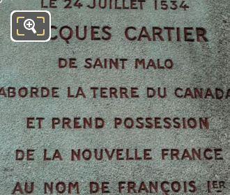 Inscription On Jacques Cartier Monument Paris