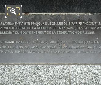Inauguration Plaque On The Spring Monument Paris