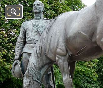 Bronze Statues Of Russian Solider With His Horse