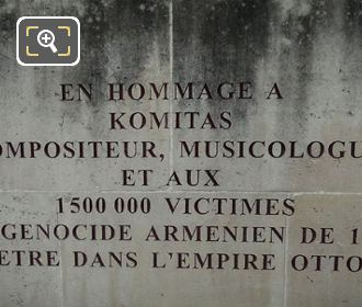 French Inscription Komitas Monument
