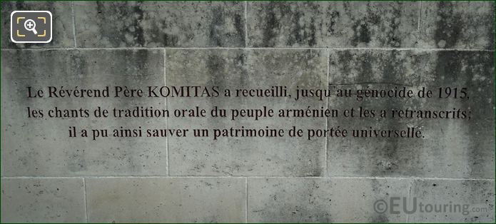 3rd French Inscription Komitas Monument