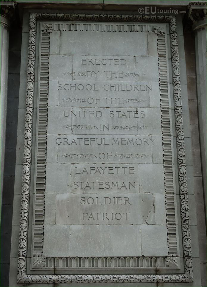 English Inscription On Lafayette Monument