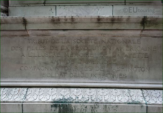 Base Inscription On Lafayette Monument