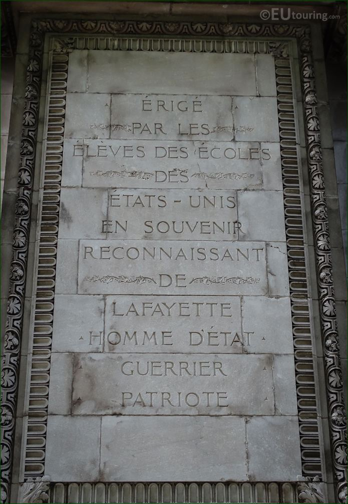 French Inscription On Lafayette Monument