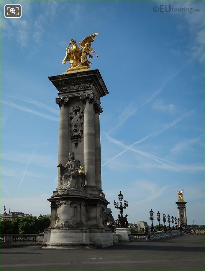France De Charlemagne Statue On Bridge Column