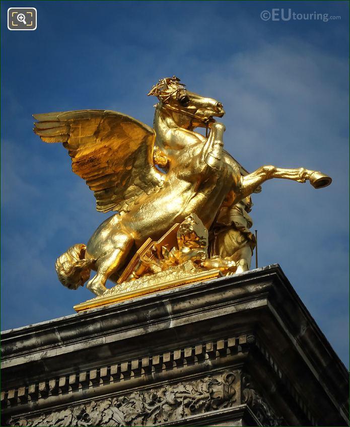 Golden Winged Horse Statue Pont Alexandre III