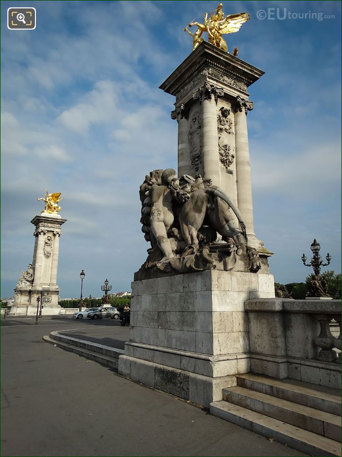 Pont Alexandre III South End Lion Statues