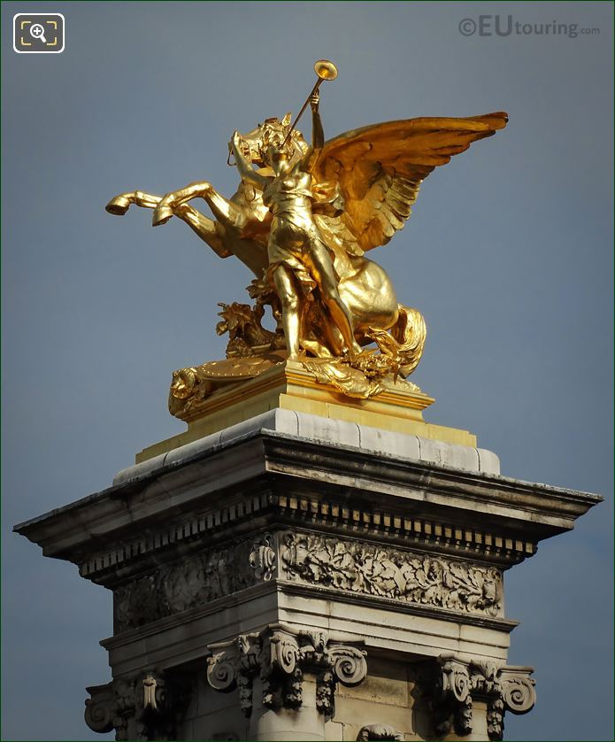 Golden Pegasus Held By Fame Statue