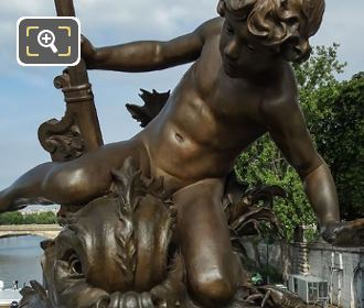 Child With Crab Statue Front View