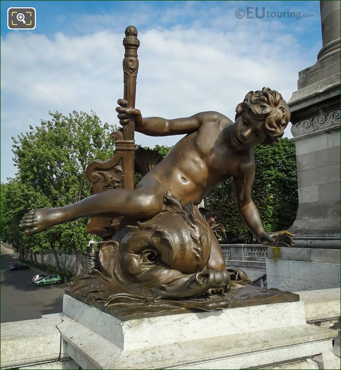 Bronze Child With Crab Statue By Leopold Morice