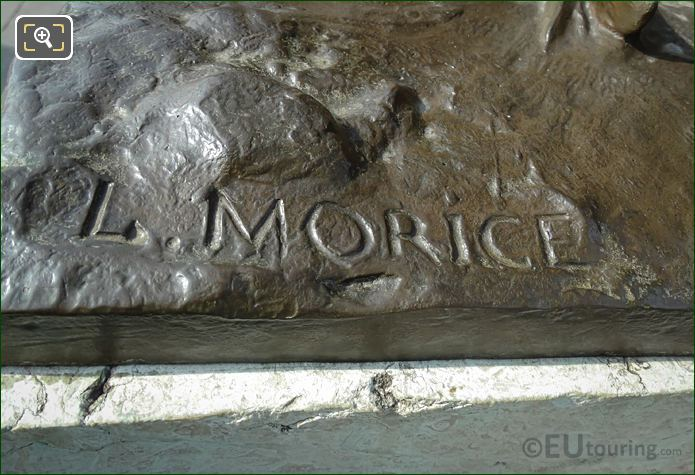 L Morice Inscription Child With Crab Statue