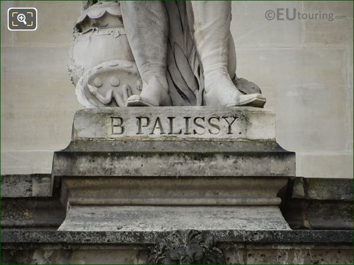 B Palissy Inscription On Stone Base
