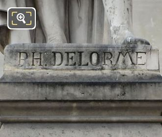 Inscription On The Base Of Philibert Delorme Statue
