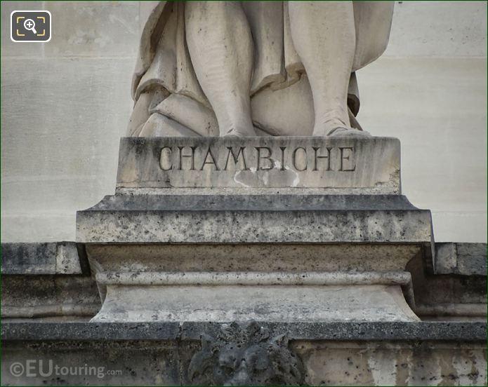 Name Inscription On Pierre Chambiche Statue