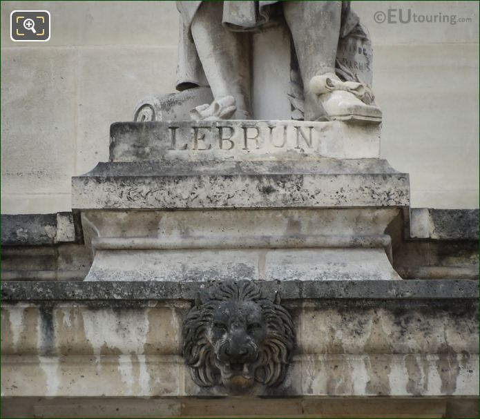 Name Inscription On Charles Le Brun Statue