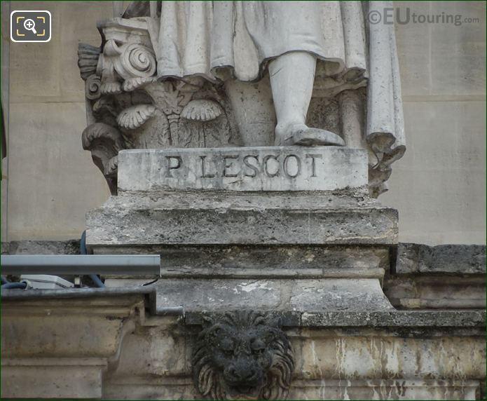 Name Inscription On Pierre Lescot Statue
