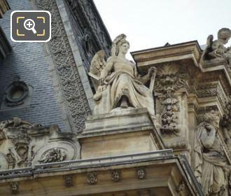 La Puissance Statue On Pavillon Mollien At Musee Du Louvre