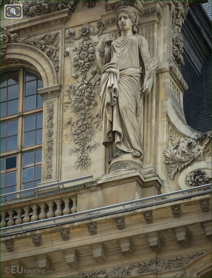 Pavillon Mollien RHS Caryatid Sculpture North Facade