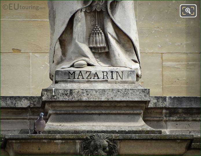 Name Inscription On Cardinal Mazarin Statue
