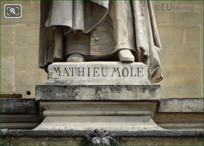 Mathieu Mole Inscription On Base Of Statue