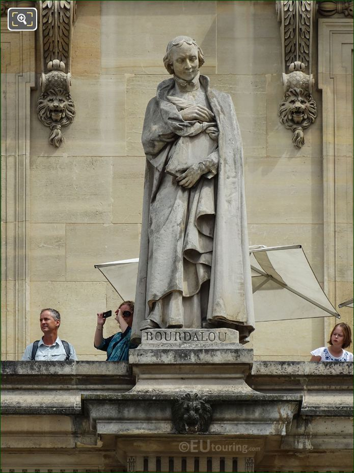 Louis Bourdaloue Statue On Aile Colbert At Musee Du Louvre