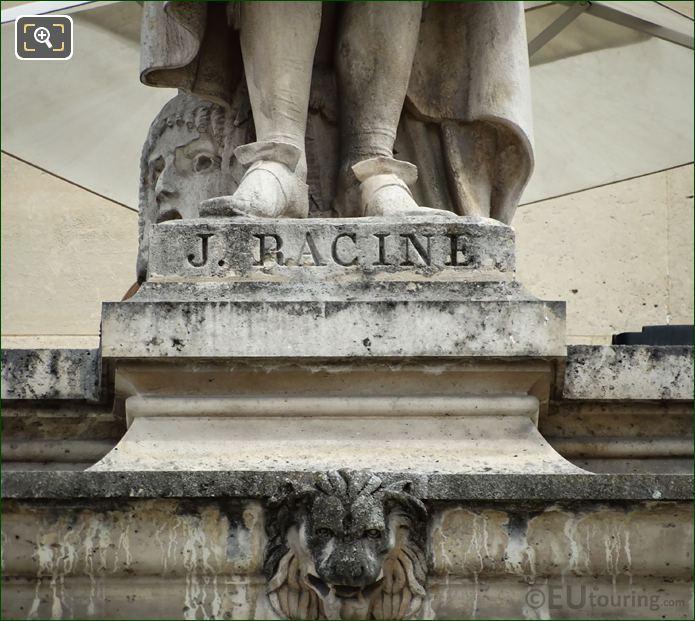Name Inscription On Jean Racine Statue