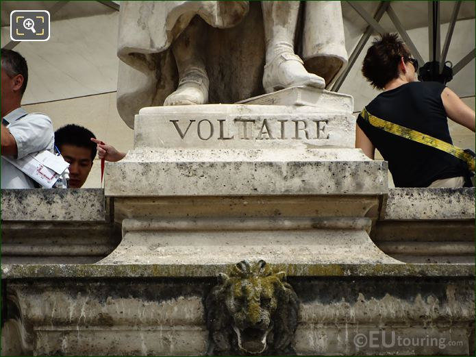 Name Inscription On Voltaire Statue