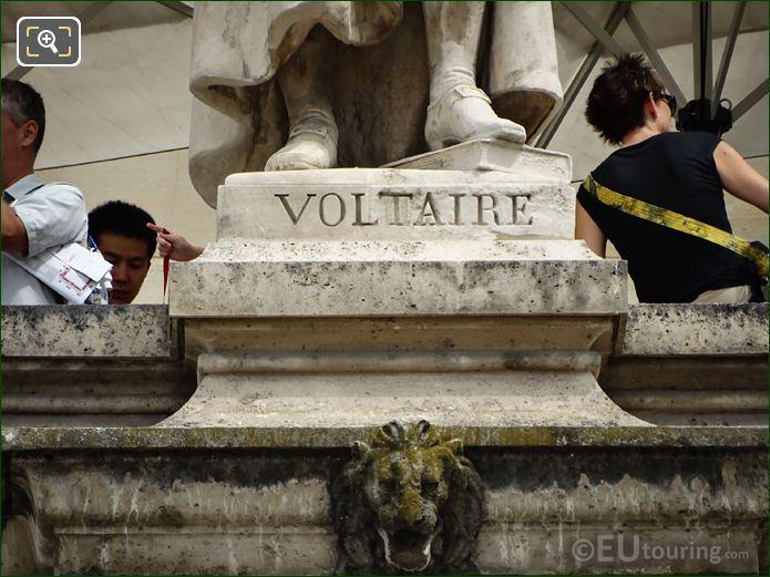 Name Inscription On Voltaire Statue