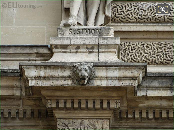 Saint Simon Inscription On Statue Base At Musee Du Louvre