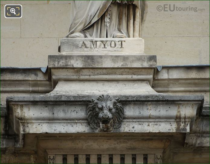 Name Inscription On Jacques Amyot Statue