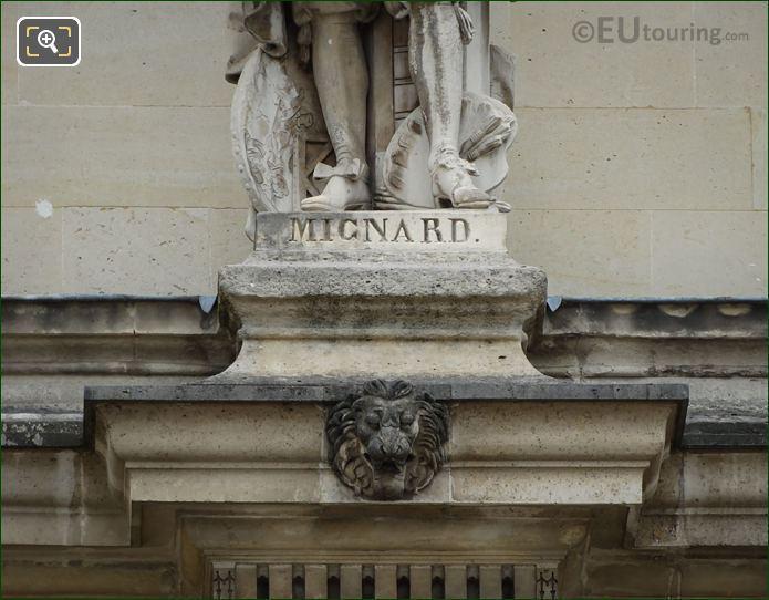 Name Inscription On Pierre Mignard Statue