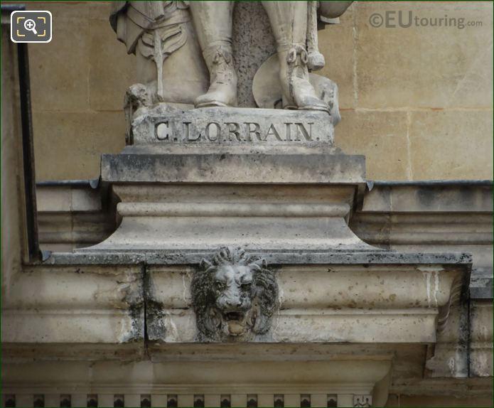 Name Inscription On Claude Lorrain Statue