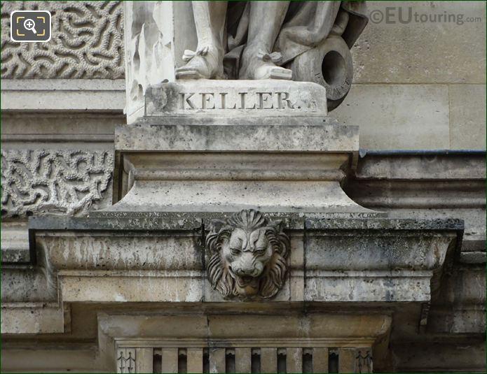 Name Inscription On Jean-Balthazar Keller Statue