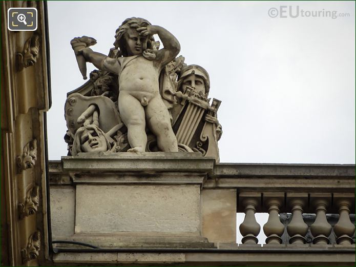 Les Beaux-Arts Statue On North Facade Of Aile Daru At Musee Du Louvre