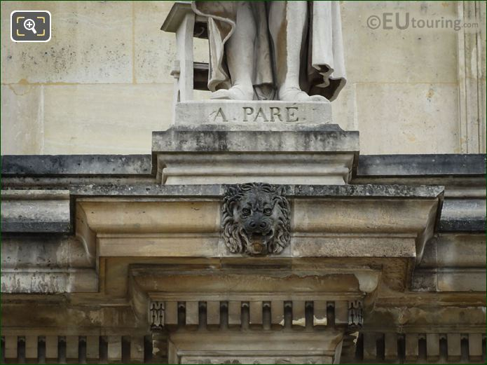 Inscription On Ambrooise Pare Statue Musee Du Louvre