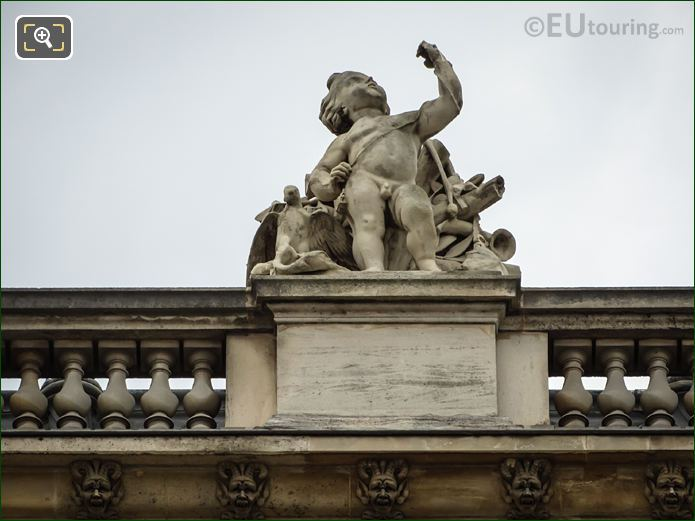 La Chasse Statue On North Facade Of Aile Daru At Musee Du Louvre