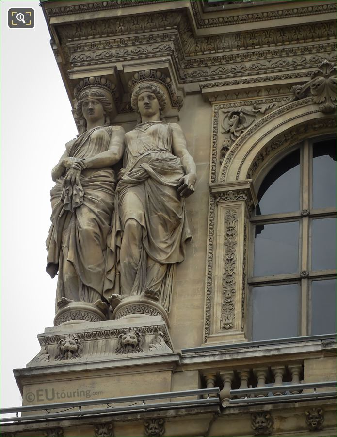 LHS Caryatid Sculptures On Pavillon Denon Facade